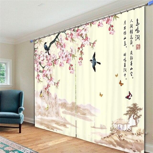 chinese traditie bloemen en vogels negen vis geomancy kamer verduistering gordijnen venster doek decor gordijnen voor
