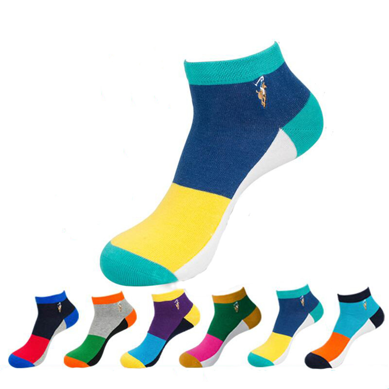 Hot Sale! Men Socks High Quality 5 Pairs/lot Spring Summer And Autumn Colorful Short Cotton Socks Men's Crazy Stripe Sock