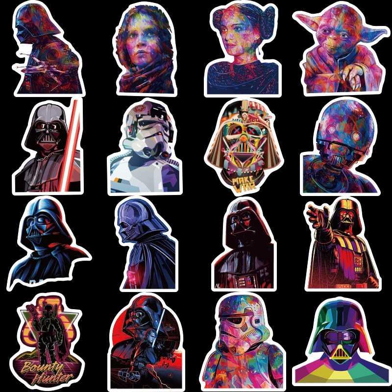 50 adet Star Wars Çıkartmalar Darth Vader Usta Yoda Anime Sticker Karalama Defteri Dizüstü Kaykay Dizüstü Bagaj Su Geçirmez Oyuncaklar Hediye