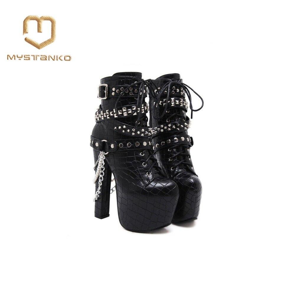 Vite Boot Fibbia Di Xz 057 Delle Caviglia Rock Stivali Black Cuneo Con Le Della Nera Donne Scarpe Pelle Rivetti Modo Alla Style In Prigioniera BcqRqU1Y