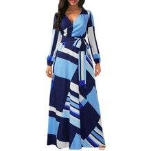 ISHOWTIENDA Women Geometric Print Long Maxi Evening Party Dress Ladies Boho  Beach fb91f7553d3a