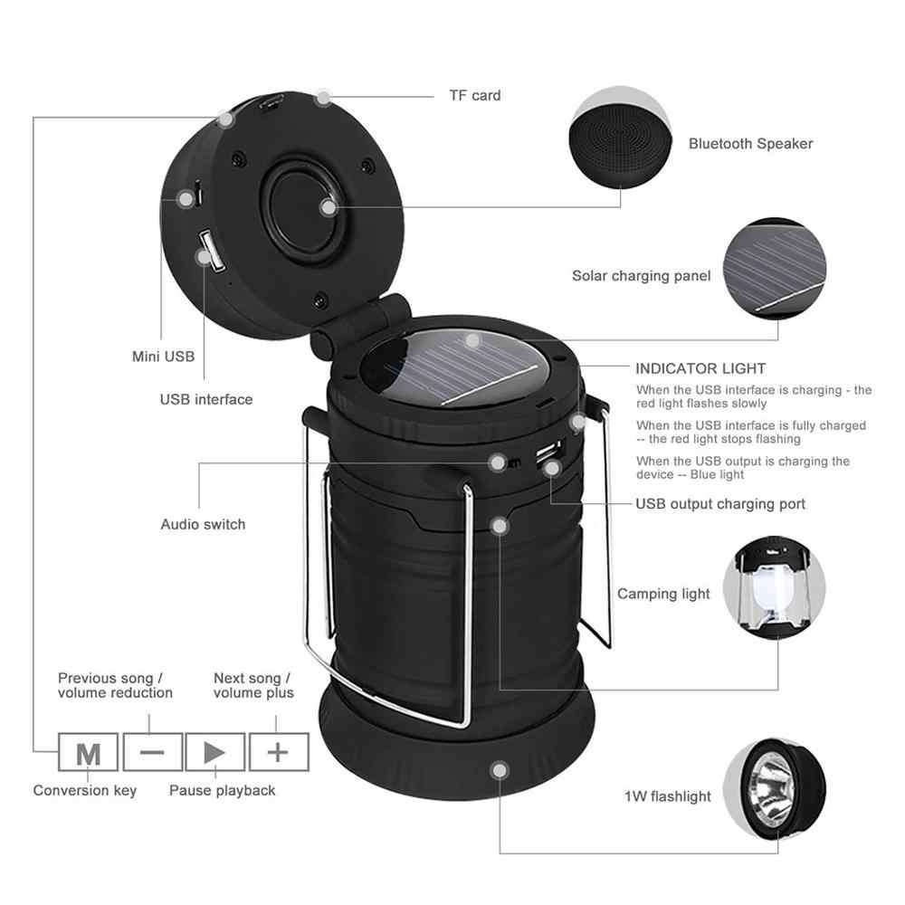 Satxtrem Bloototh Speaker Portable Outdoor Speakers Mini Camping Lantern Home Hiking Fishing LED Flashlights USB Outdoor Speaker