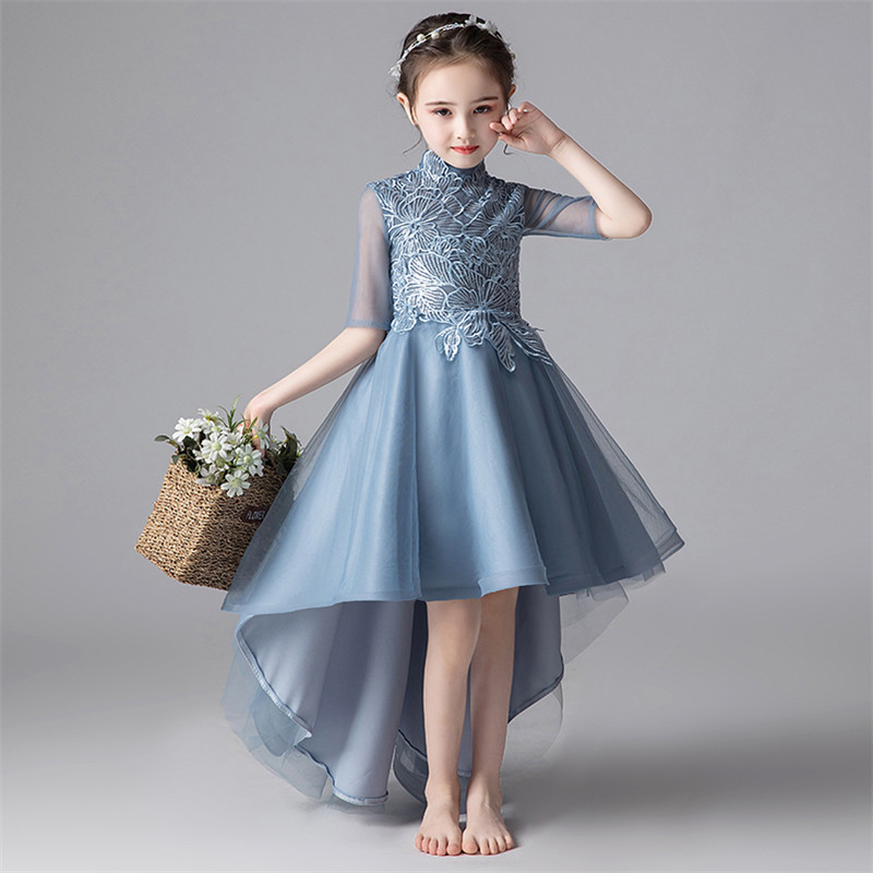 Half Sleeves Girl Lace Tulle Tail Dress Teens Elegant Children Clothing Kids Princess Dresses Wedding Birthday Ball Gown Dress green crew neck roll half sleeves mini dress