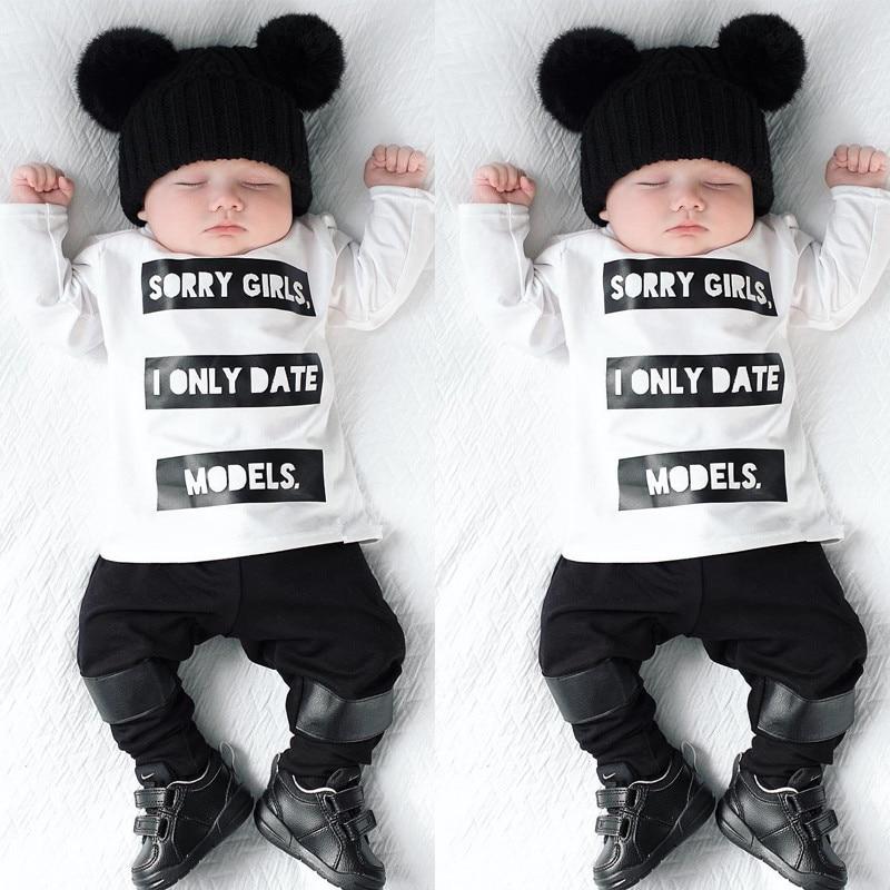 d8f1116e103 2019 ropa de bebé niña T camisa de manga larga carta patrón pantalones 2  piezas traje de recién nacido
