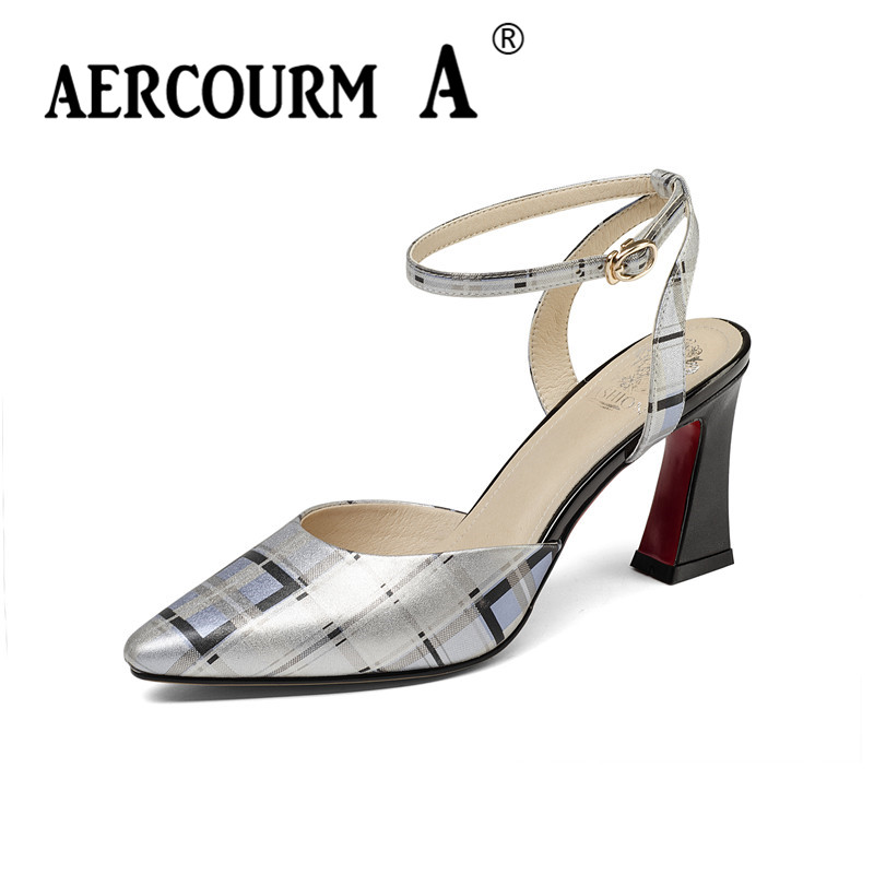 Aercourm A Women Lattice Genuine Leather Sandals Square High Heel Sandals Lady Buckle Strap Summer Shoes Female Dress Sandals lady sandals vietnam shoes leather sandals female sandals 2017 outdoor lovers casual summer sandals