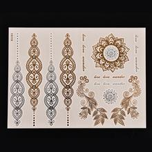 Водонепроницаемый лепестки Женщин красивый чехол боди-арт, металлик флэш временные татуировки наклейки золотого и серебряного цвета цвет 1 лист