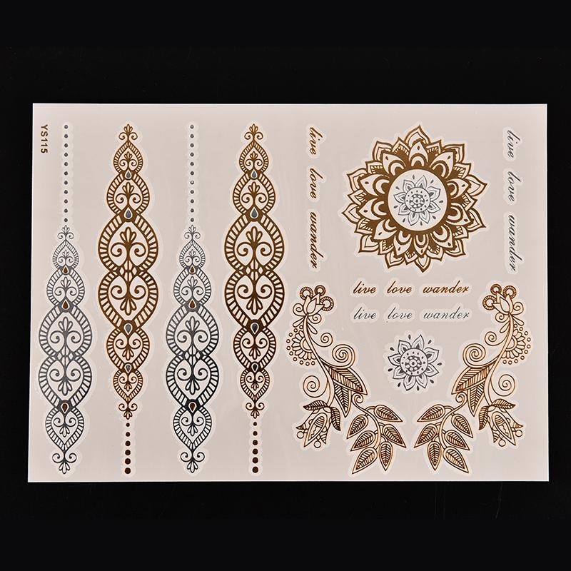 Waterproof Petals Women Beautiful Case Body Art Metallic Flash Temporary Tattoos Stickers Gold Silver Color 1 Sheet