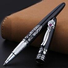 Stylo à bille roulante en métal haut de gamme pince en argent de mode avec des stylos de signe noirs de gemme avec un cadeau de noël de bureau daffaires de boîte cadeau de luxe