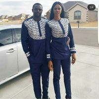 South African 2018 New African Couple Set Africa Mens African Clothing For Men And Women Bazin