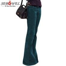 SEBOWEL, женские бархатные широкие брюки с высокой талией, повседневные брюки палаццо для дам, женские брюки, весенние, Осенние, зимние брюки, S-XL