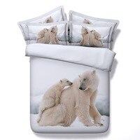 Wit dieren beddengoed queen twin kingsize ijsbeer beddengoed sets voor jongen volwassen 3/4 pc 3d print dekbedovertrek 500tc spreien