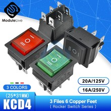 KCD4 Kapal Type Rocker Switch Power Sentuh Pada/OFF Switch 3 Posisi 6 Pin Feets dengan Cahaya 16A 250 V 30A 125 V 25*31 Mm(China)