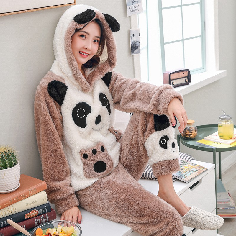 JINUO New Arrival 22 Styles Cute Panda Cartoon Women Winter Plush   Pajama     Sets   Young Ladies Warm Lovely Soft Home Wear Sleepwear