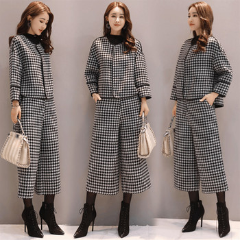 Suit female fashion houndstooth woolen coat short wide leg pants two-piece casual new autumn