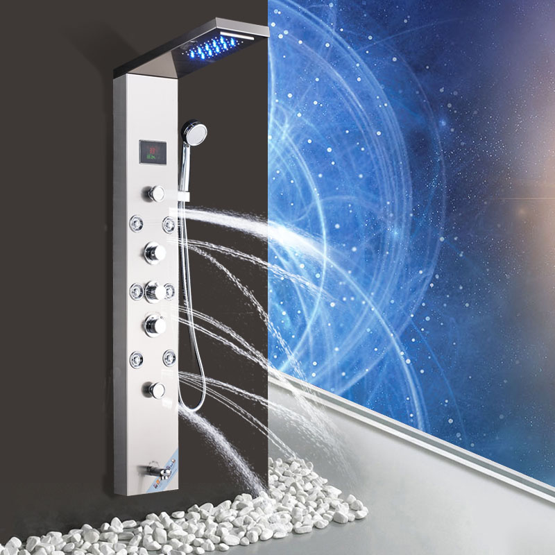 POIQIHY Brushed Nickel Shower Panel Rain & Waterfall With Massage Jets Tub Spout Mixer tap with hand shower one outlet