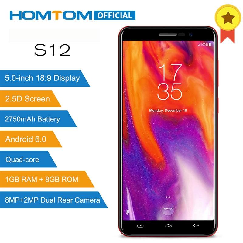 HOMTOM S12 MT6580 4 ядра Android 6,0 смартфон 5,0 дюймов 18:9 Дисплей двойной задней камерами 1 ГБ Оперативная память 8 ГБ Встроенная память 3g мобильного телефона
