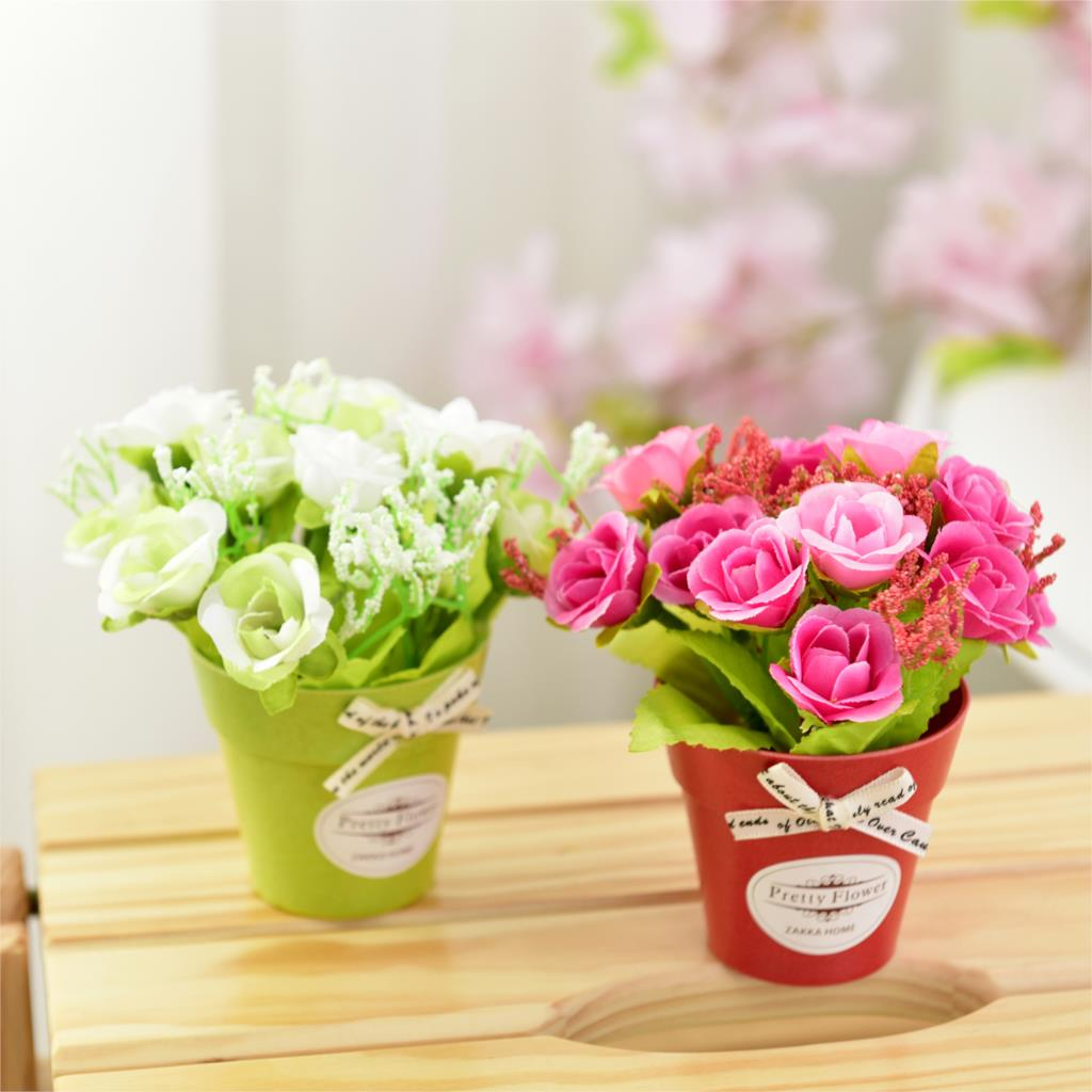 Silk Rose Artificial Flowers Bouquet Fake flowers with ...