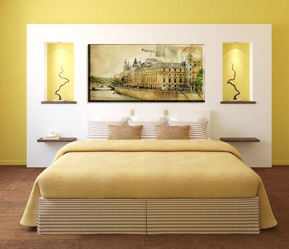 Vintage style River La seine 12x24 20x39 Picture Prints canvas art ...