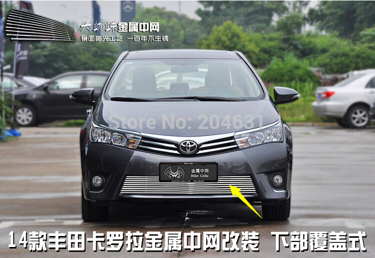 Stainless steel outlet before the middle grid electroplating car styling racing grill trim for 2014 Corolla