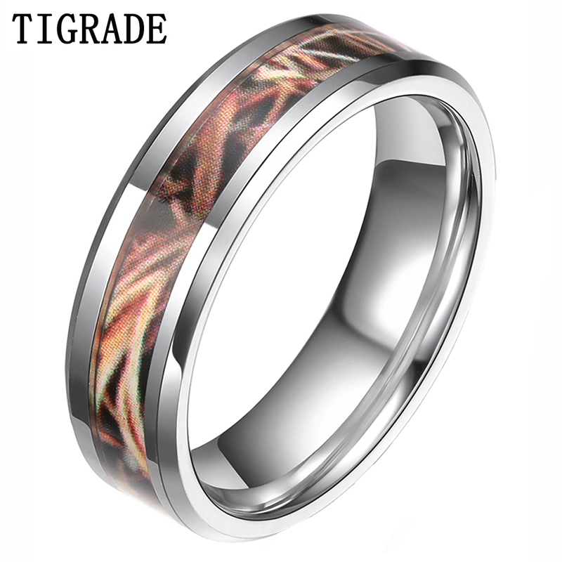 tigrade 6mm8mm trees leaves tungsten ring men women hunting camouflagecamo wedding band - Womens Camo Wedding Rings