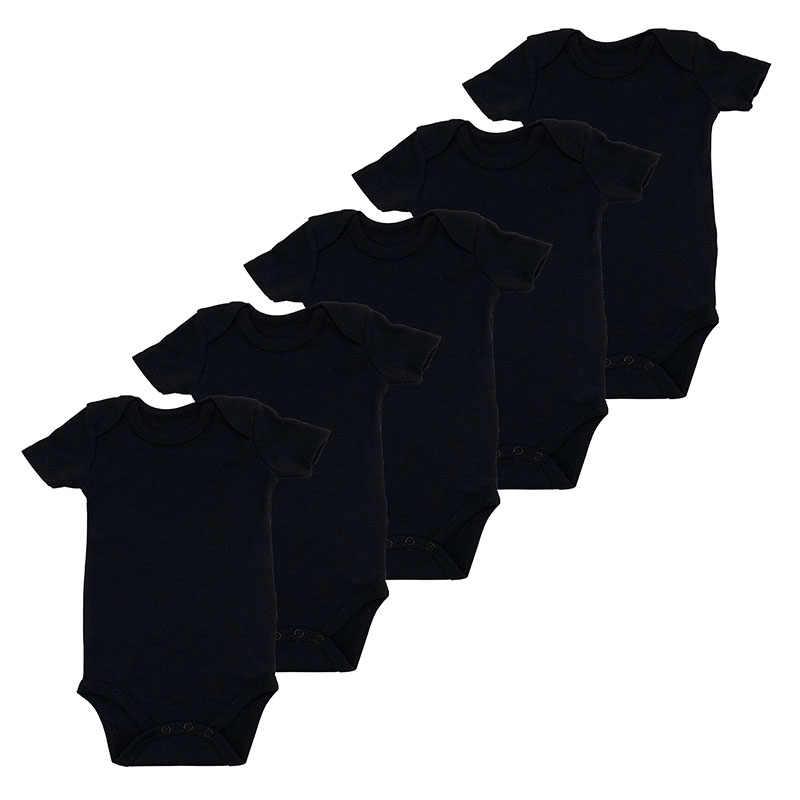 5 шт./партия, белое боди для мальчиков с короткими рукавами, летняя одежда для новорожденных девочек, хлопковый черный комбинезон для младенцев, детская одежда с круглым вырезом