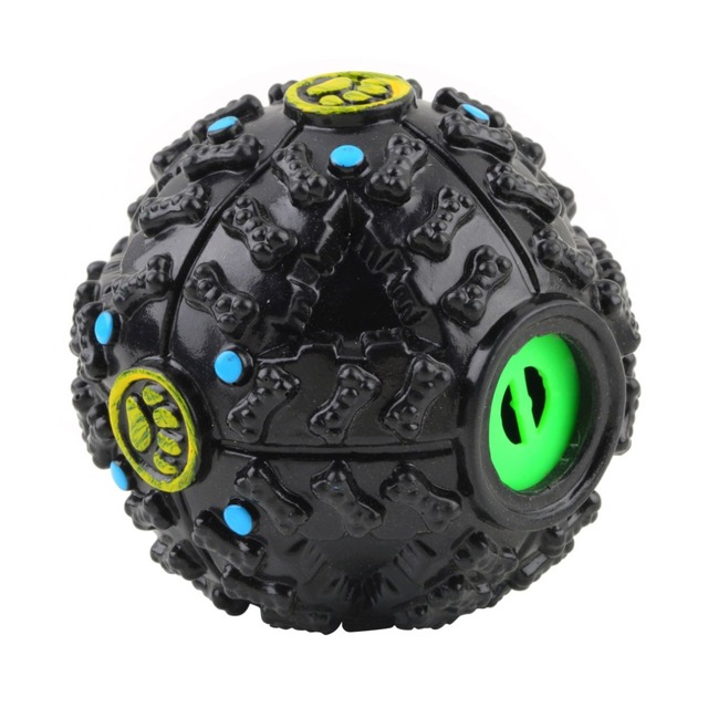 1Pc 7cm Black Silicone Pet Dog Cat Food Dispenser Toy Ball Squeaky Giggle Quack Sound Training Toy Chew Ball Drop Shipping