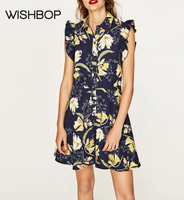 WISHBOP NEW 2017SS Fashion Floral Print Short Jumpsuits Shirt Collar Front Buttons Up Ruffles Sleeveless Cut