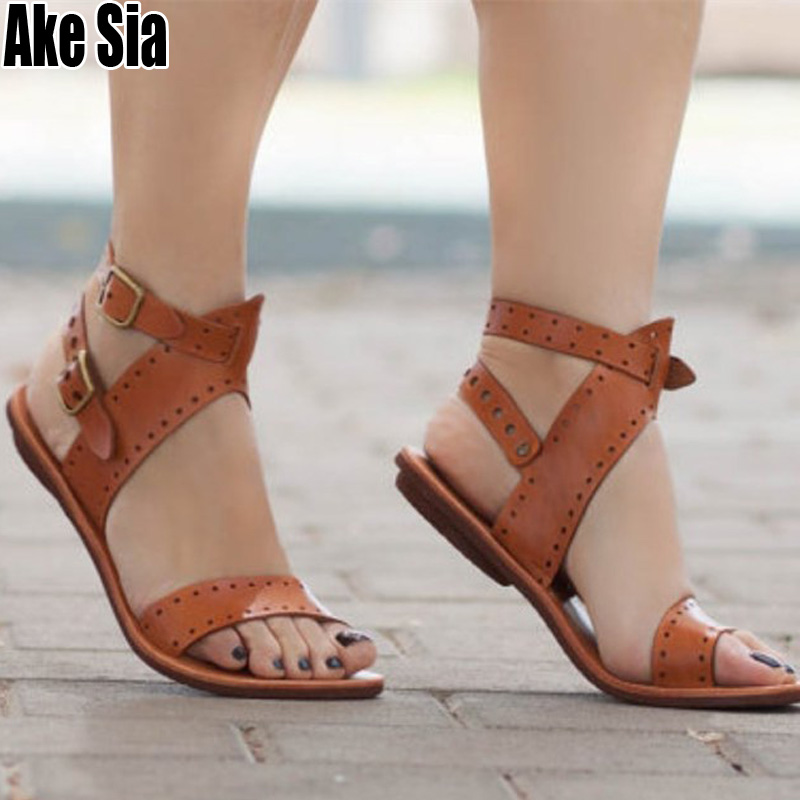 Womens Roman Casual Sandals Wedge Heels Peep Toe Hollow Out Ankle Buckle Shoes