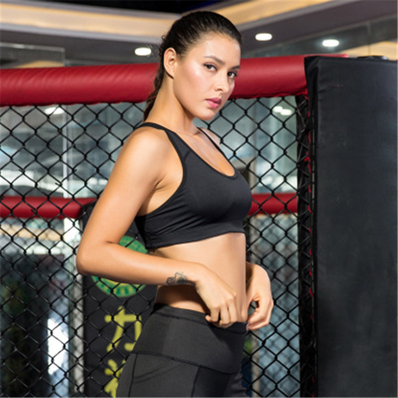 Купить с кэшбэком Brand Women Sexy Sports Bra Yoga Tops Solid Color Padded Push Up Sleeveless Shirt Female Gym Fitness Yoga Tights Running Vest