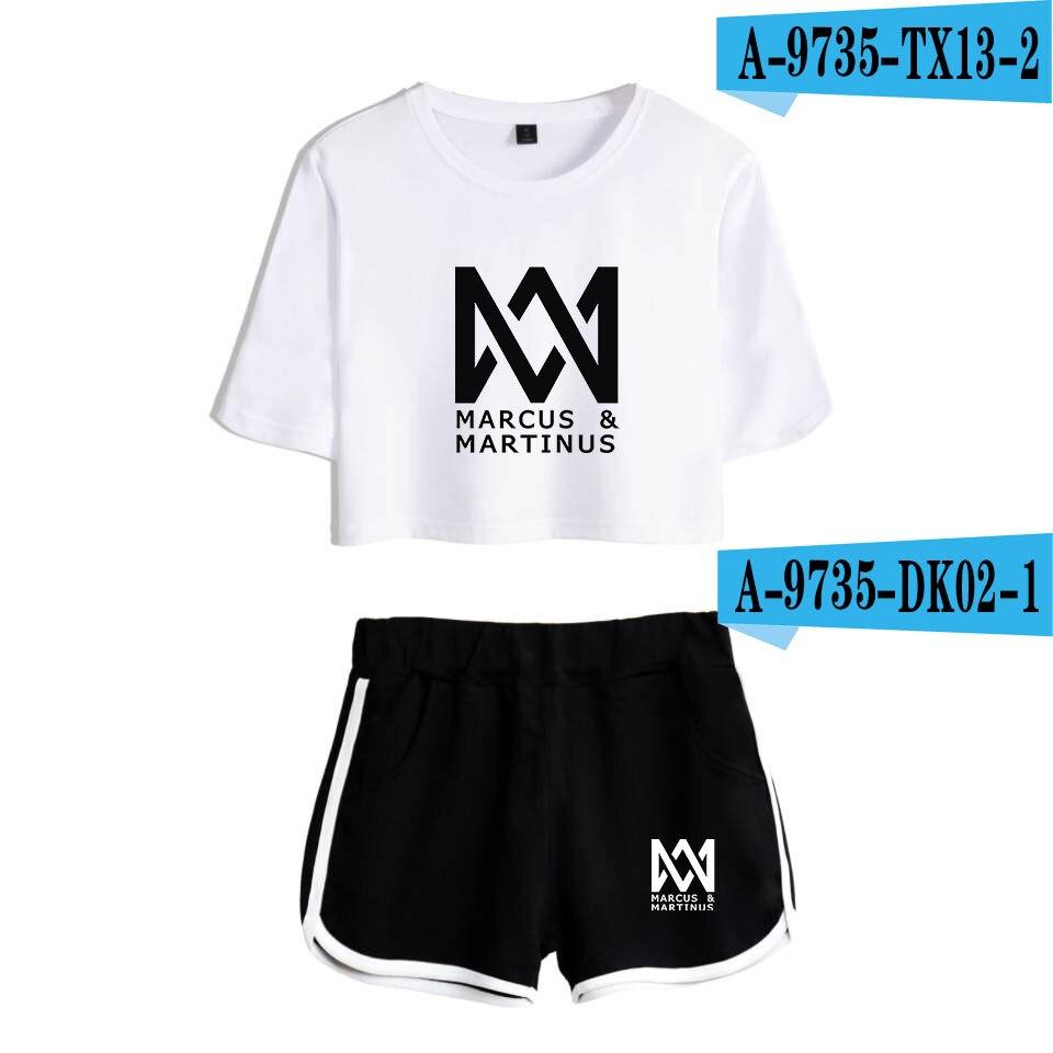 Neue Mode Marcus und Martinus Kurzarm Gedruckt Crop Top + Shorts Schweiß Anzüge Frauen Trainingsanzüge Zwei Stück Outfit Plus größe