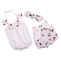 2016 nieuwe peuter meisjes kleding turkse baby zomer outfit animal bloem gedrukt baby meisjes romper met korte hoofdband set