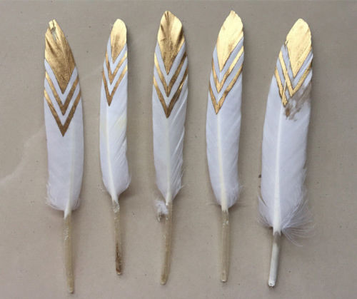 50pcs x 10-15cm GOLD Dipped Feathers,Gold Stripe painted Duck Cocottes Feathers for craft/millinery/flyfishing,BULK/WHOLESALE