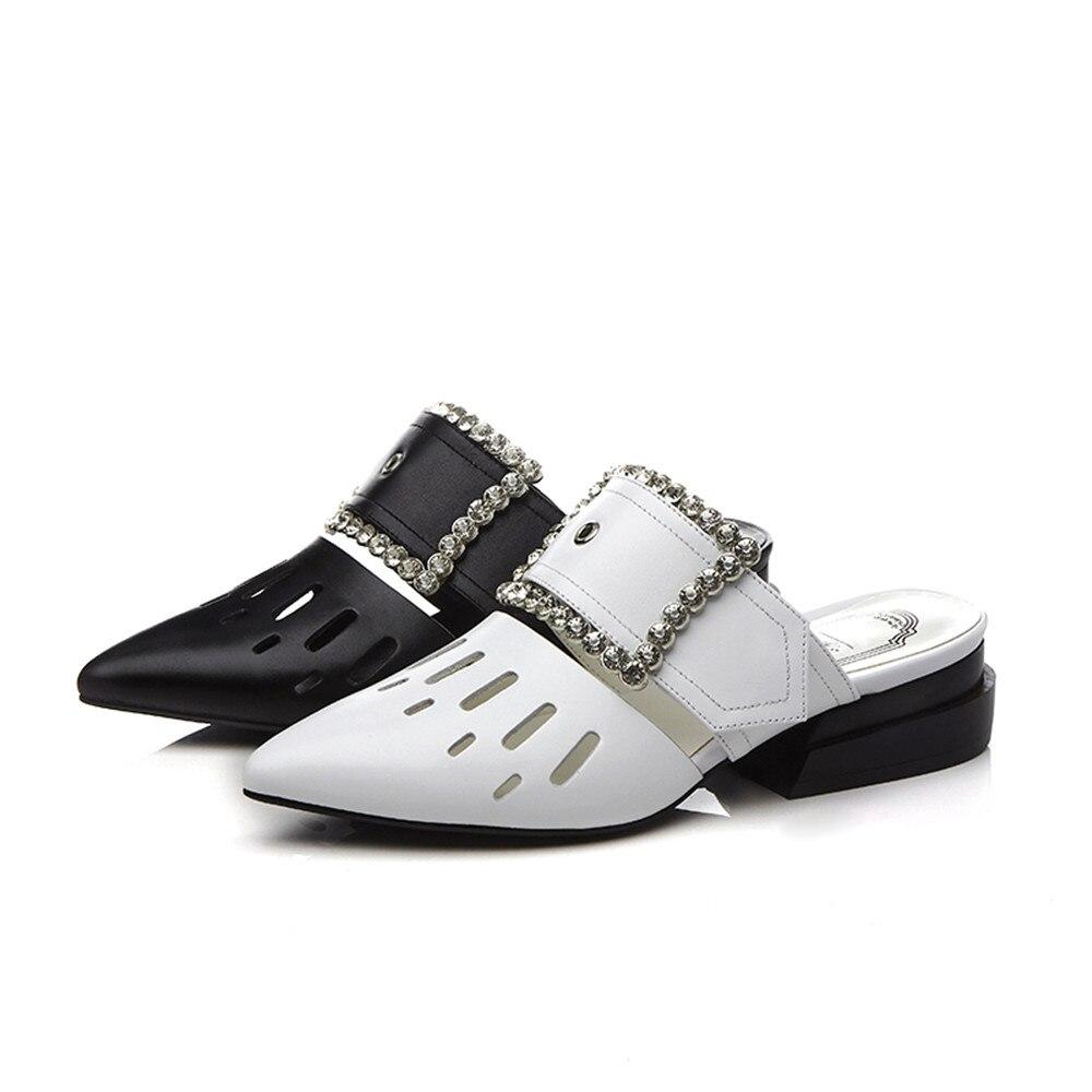 A Punta Casuali Bianco Delle In Tacco 34 Genuino Donne Nero Modo bianco Pelle Nero Asumer Grande Quadrato Formato Di Il Sandali 43 Muli Scarpe 5x4IwXnY