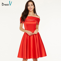 Dressv Red Evening Dress Cheap Boat Neck Sleeveless A Line Off The Shoulder Black Wedding Party