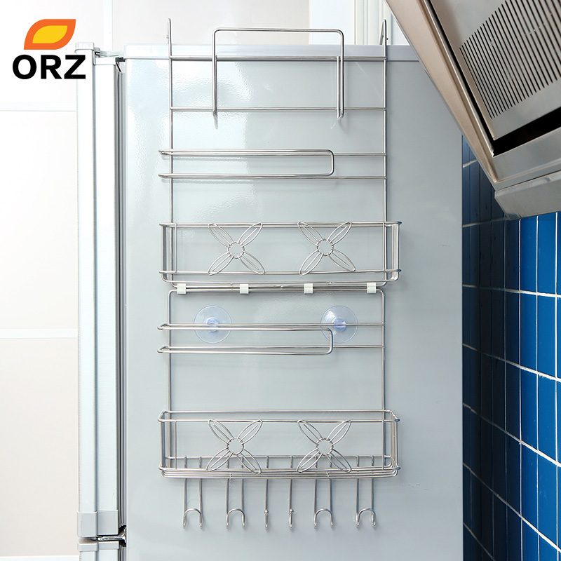 ORZ Refrigerator Rack Side Shelf Sidewall Holder Multipurpose Spice Space Crack Storage Estante Fridge Kitchen Organizer Holder