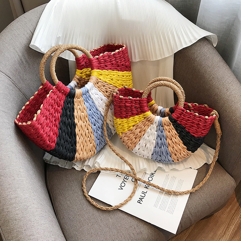 Image 3 - Fashion Straw Bag Women's Summer Rattan Bag Handmade Woven Bohemia Beach Ladies Handbags Wicker Travel Shoulder Bag Big Tote Bag-in Shoulder Bags from Luggage & Bags