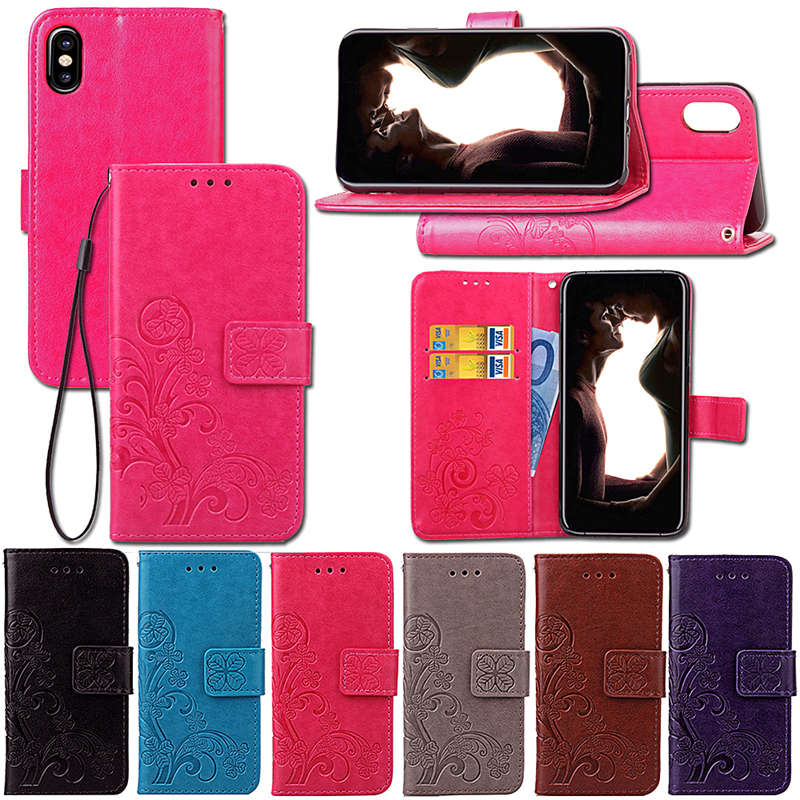 Vier Blatt Klee Fall Für <font><b>iphone</b></font> 8 7 6 Plus 5S SE Fall mit Flip Brieftasche Fall <font><b>iphone</b></font> X Telefon coque Hoesjes PU Leder image