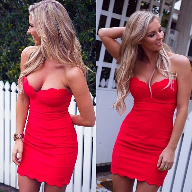 Hot blondes in dresses