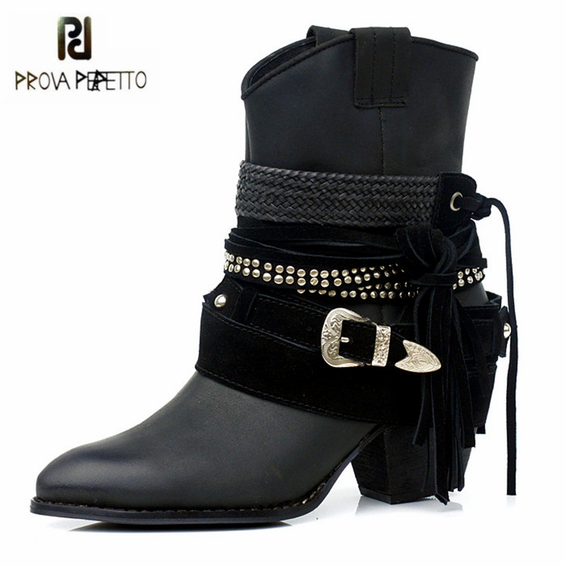 Prova Perfetto Ankle Boots for Women Chunky High Heel Martin Boot Pointed Toe Rivet Fringed Genuine Leaather Autumn Winter Botas prova perfetto brown women genuine leather high heel boot platform mid calf high boots buckle straps martin botas shoes woman