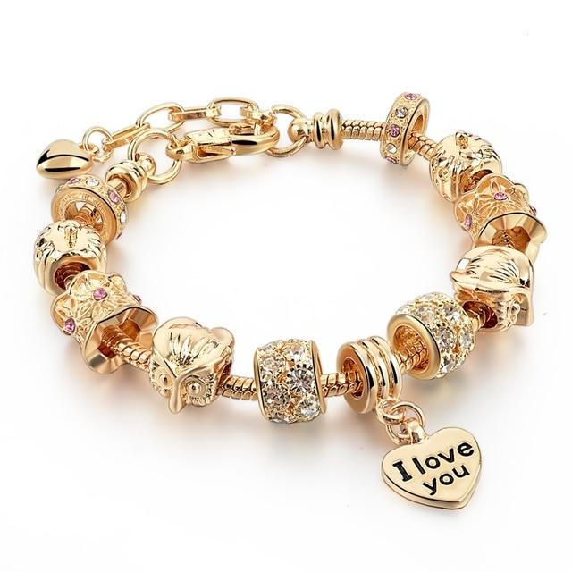 2016 Famous Brand Jewelry Gold Color Bracelet For Women Friendship Bracelets Bangles DIY Pulsera SBR150077