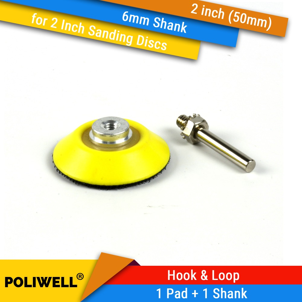 2 Inch(50mm) Back-up Sanding Pad + 6mm Shank For 2