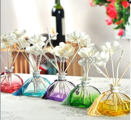 10pcs/lot singapore free shipping reed diffuser wicker rattan aroma diffuser natural home decoration glass bottle dry flower