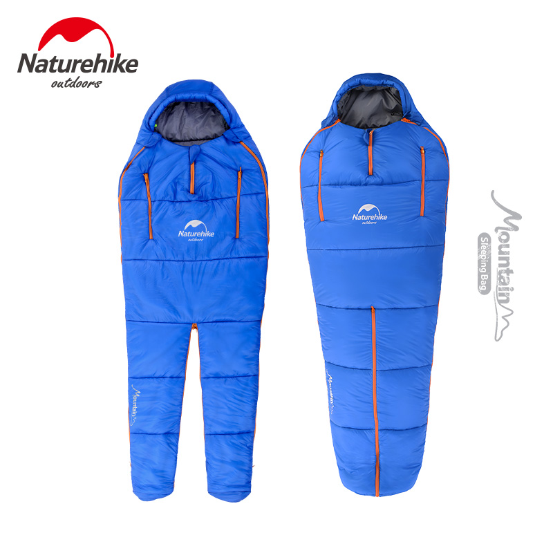 NatureHike Splicing Mummy Sleeping Bag Wearable Camping Sleeping Bag Body Shape Adult Envelope Cotton Warm Sleeping Bags 210t polyester plaid sleeping bag winter sleeping outdoor camping sport adult envelope type cotton splicing single sleeping bags