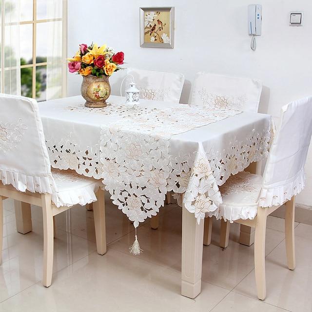 € 10.8 |Blanco tul de encaje hueco mesa cuadrada mantel paño silla de  comedor de tela de poliéster impermeable anti aceite Europeo nuevos  productos en ...