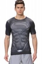 Red Plume Men's Compression Tight Fitness Superman Shirt,Quick-drying Sports T-shirt