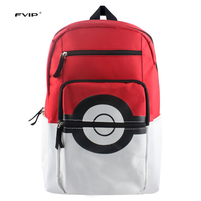 FVIP Anime Pokemon Backpack Boys Girls School Bags Children Pikachu Poke Ball Backpack For Teenagers Kids Backpacks Schoolbags