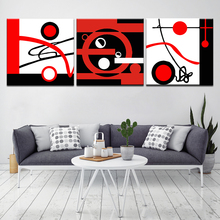 Abstract painting of red and white black modern Modular 3 panel wall Poster Nordic Canvas for Living Room Home Decor