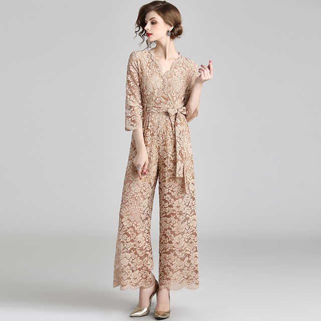 d794b1b2427f 2018 real shot new lace jumpsuit V neck tie slim pants wide legs-in ...