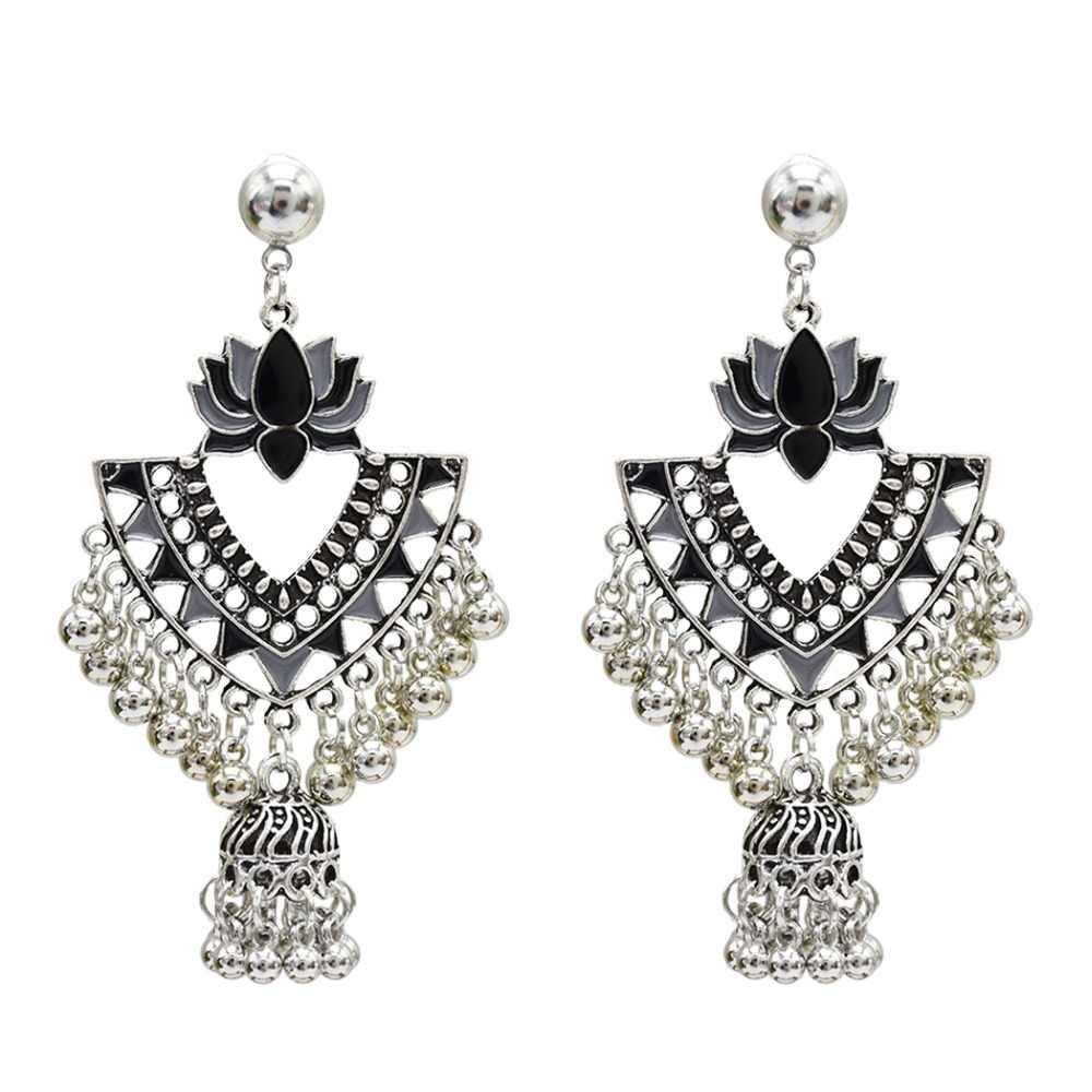 847551a9b ... Ethnic Retro Silver Metal Bells Tassel Jhumka Earrings for Women Boho  Hippie Flower Wedding Party Thailand ...