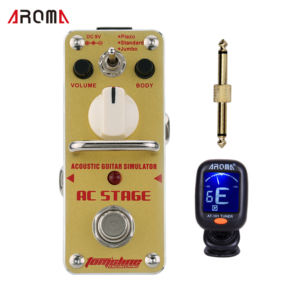Promotion!! AROMA AAS-3 AC STAGE Acoustic guitar simulator Mini Analogue Effect True Bypass with tunner ,and 1guitar connector aroma ac stage acoustic guitar simulator effect pedal aas 3 high sensitive durable top knob volume knob true bypass metal shell